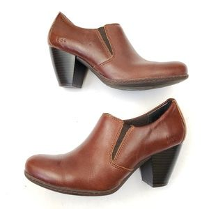 BOC Brown Leather Ankle Booties Size 6.5